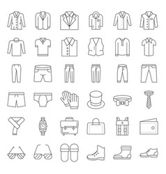 Male clothes and accessories thin line icon set 3 vector