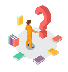 Man and question mark isometric vector