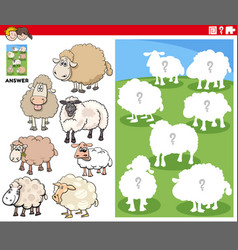 matching shapes game with cartoon sheep characters vector image