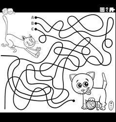 Maze with playful cats coloring book page vector