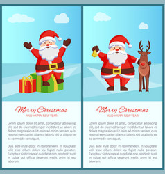 merry christmas santa and deer vector image