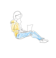 Minimalistic doodle drawing of girl sitting with vector