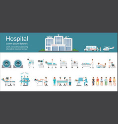 Modern hospital building and healthcare vector