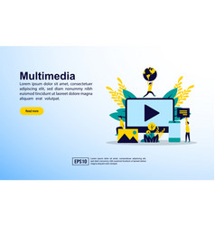 multimedia concept with icon and character vector image