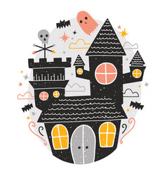 mysterious haunted castle cute funny scary ghosts vector image