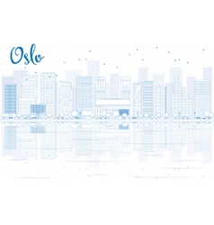 Outline Oslo Skyline with Blue Buildings vector