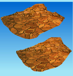Painted part of the dry cracked desert land vector