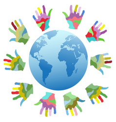 painting color hands around world vector image