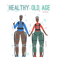 Pair african happy healthy old people in vector