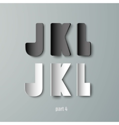 Paper graphic alphabet white and black jkl vector