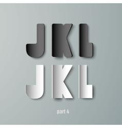 Paper graphic alphabet white and black jkl vector