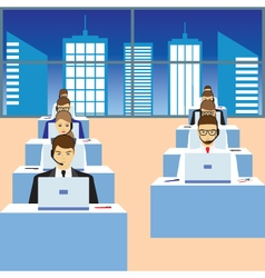People working in a call center vector image