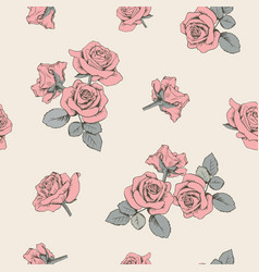 pink roses floral seamless pattern vector image