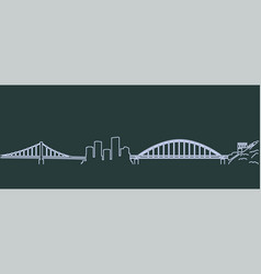 pittsburgh single line skyline vector image