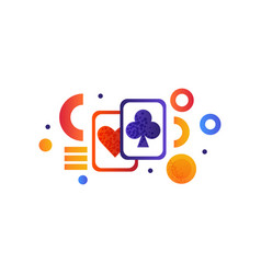 playing cards gambling element vector image