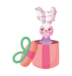 rabbit with lights in gift box merry christmas vector image
