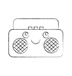 Radio music player kawaii character vector