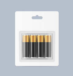 Realistic detailed 3d pack alkaline batteries vector
