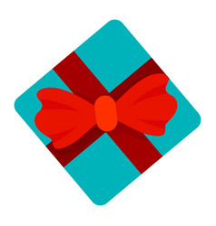 red ribbon blue gift box icon flat style vector image