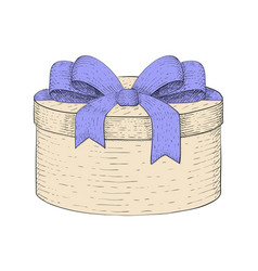 round gift box with blue ribbon bow hand drawn vector image