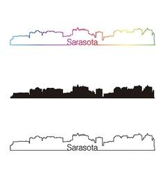 Sarasota skyline linear style with rainbow vector