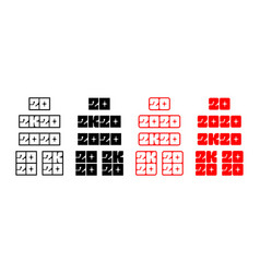 set 2020 stickers for new year vector image