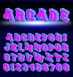 set letters and numbers 80s retro style vector image