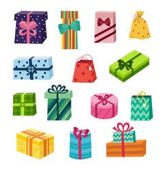 Set of colourful round square gift present boxes vector