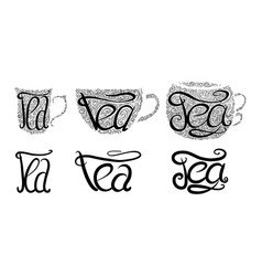 Set of teacups with lettering and doodle tracery vector