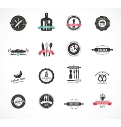 Set of vintage restaurant and food badges labels vector