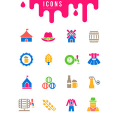 Set simple icons octoberfest vector