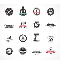 set vintage restaurant and food badges labels vector image