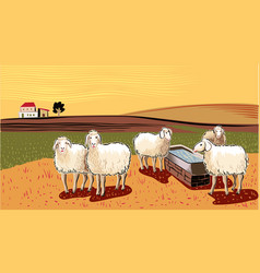 Sheep near watering hole vector