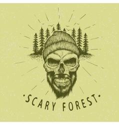 Skull-lumberjack Vintage label vector