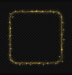Square frame with magic light glow effect vector