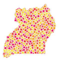Star mosaic map of uganda vector