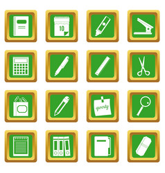 Stationery symbols icons set green vector