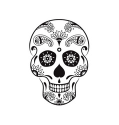Sugar skull with floral pattern for mexican day vector