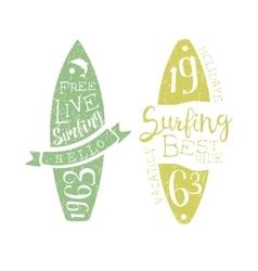 Summer Holidays Vintage Emblem With Surfboard vector
