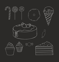 Sweets linear contour drawing set vector