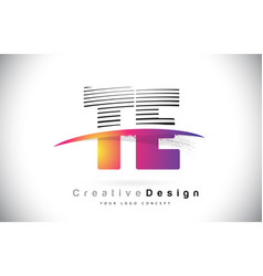 Te t e letter logo design with creative lines and vector