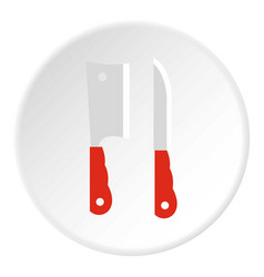 Two kitchen knife with red handle icon flat style vector
