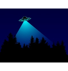 UFO over the forest vector image