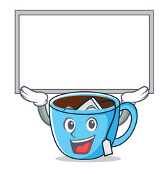 Up board tea cup character cartoon vector
