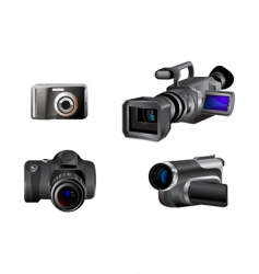 video and photo camera icons vector image