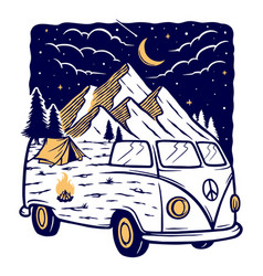 view mountains and car at night vector image
