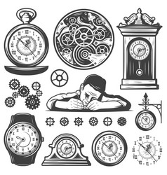 Vintage monochrome clocks repair elements set vector