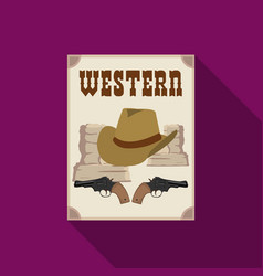 Western movie icon in flat style isolated on white vector