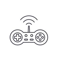 wireless joystick line icon concept wireless vector image