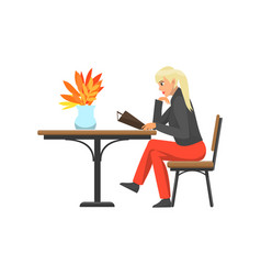 Woman lady customer of cafe reading menu vector